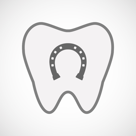rein: Illustration of an isolated line art tooth icon with  a horseshoe sign