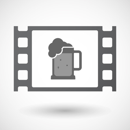 jarra de cerveza: Illustration of an isolated celluloid film frame icon with  a beer jar icon Vectores
