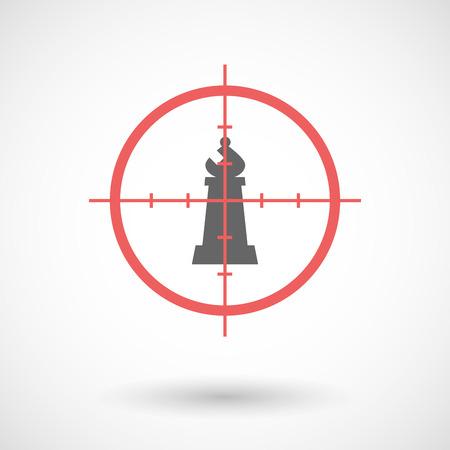 Illustration of an isolated  line art crosshair icon with a bishop    chess figure Illustration