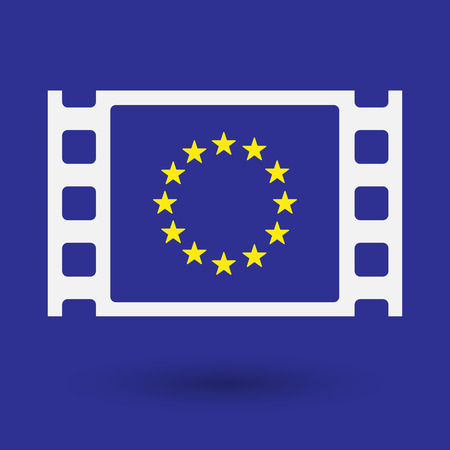 celluloid: Illustration of an isolated celluloid film frame icon with  the EU flag stars