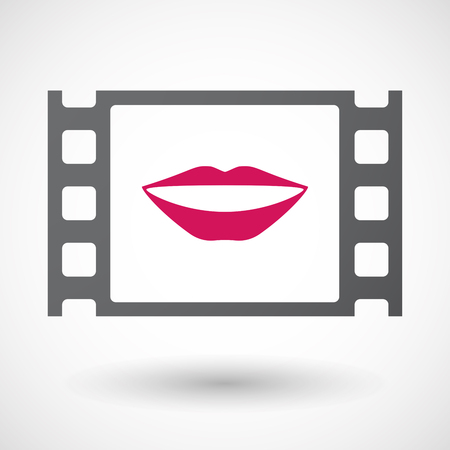 documentary: Illustration of an isolated celluloid film frame icon with  a female mouth smiling