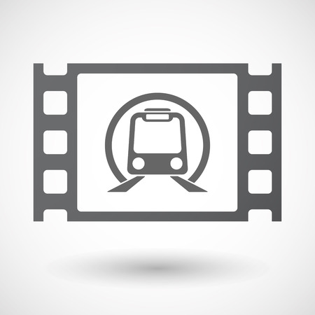 celluloid: Illustration of an isolated celluloid film frame icon with  a subway train icon
