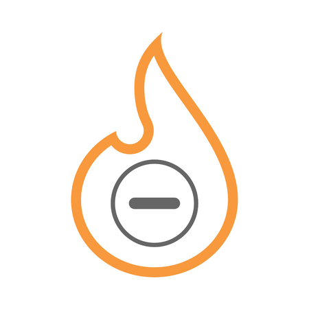 Illustration of an isolated line art flame icon with a subtraction sign