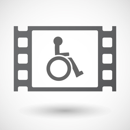 celluloid: Illustration of an isolated celluloid film frame icon with  a human figure in a wheelchair icon Illustration