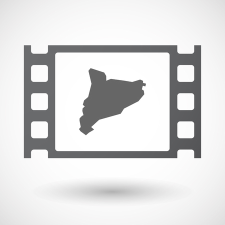 catalonia: Illustration of an isolated celluloid film frame icon with  the map of Catalonia