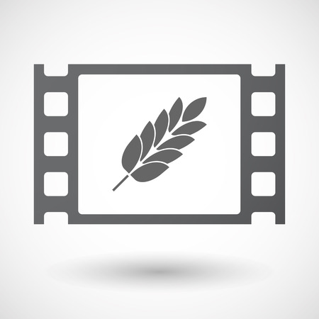 celiac: Illustration of an isolated celluloid film frame icon with  a wheat plant icon