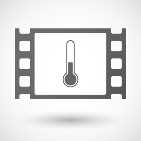 celluloid: Illustration of an isolated celluloid film frame icon with  a thermometer icon Illustration