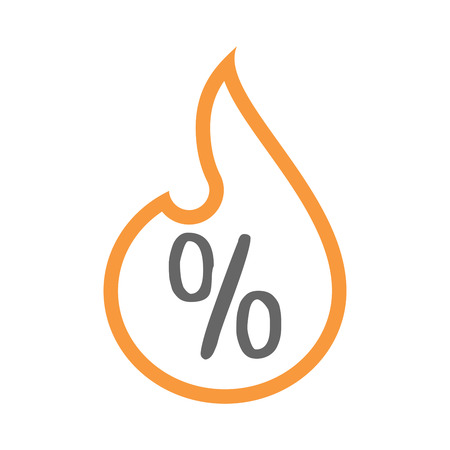 inferno: Illustration of an isolated line art flame icon with a discount sign