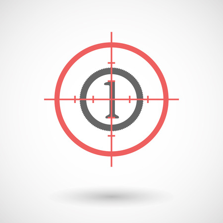 sight: Illustration of an isolated  line art crosshair icon with  a coin icon