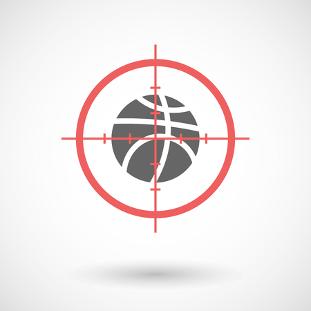Illustration of an isolated  line art crosshair icon with  a basketball ball