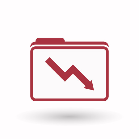 Illustration of an isolated line art  folder icon with a descending graph