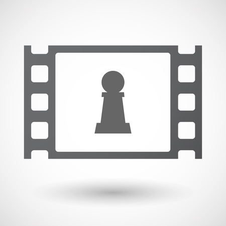 celluloid: Illustration of an isolated celluloid film frame icon with a  pawn chess figure Illustration