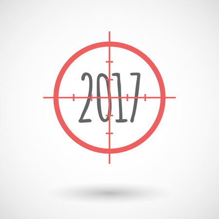 Illustration of an isolated  line art crosshair icon with  a 2017 year  number icon
