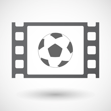 celluloid: Illustration of an isolated celluloid film frame icon with  a soccer ball