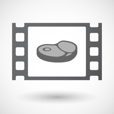 Illustration of an isolated celluloid film frame icon with  a steak icon