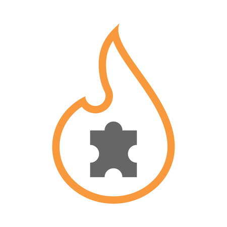 art piece: Illustration of an isolated line art flame icon with a puzzle piece Illustration