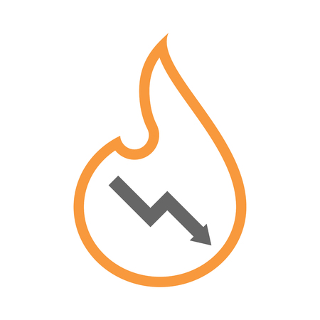 Illustration of an isolated line art flame icon with a descending graph