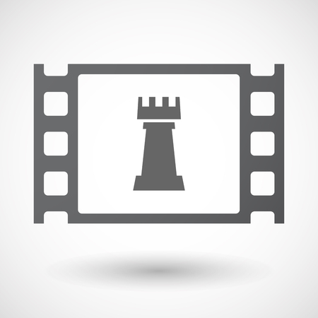 documentary: Illustration of an isolated celluloid film frame icon with a  rook   chess figure