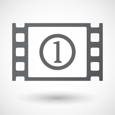 documentary: Illustration of an isolated celluloid film frame icon with  a coin icon Illustration