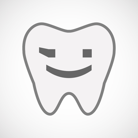 wink: Illustration of an isolated line art tooth icon with  a wink text face emoticon