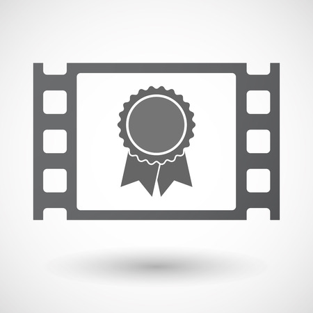 celluloid: Illustration of an isolated celluloid film frame icon with  a ribbon award