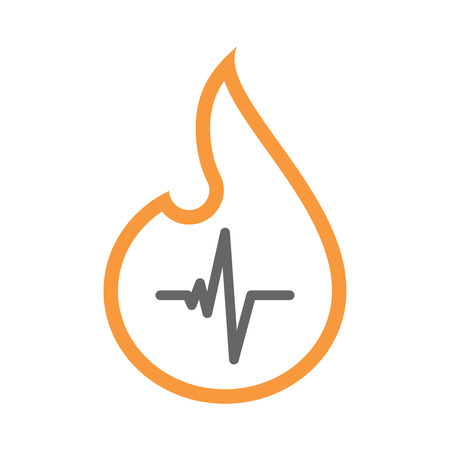 heart burn: Illustration of an isolated line art flame icon with a heart beat sign