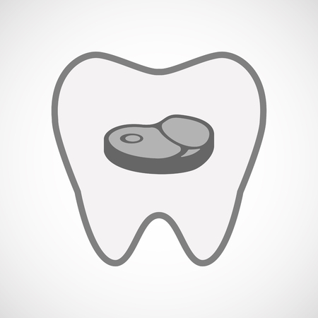 Illustration of an isolated line art tooth icon with  a steak icon