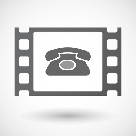 documentary: Illustration of an isolated celluloid film frame icon with  a retro telephone sign