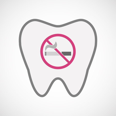abstain: Illustration of an isolated line art tooth icon with  a no smoking sign