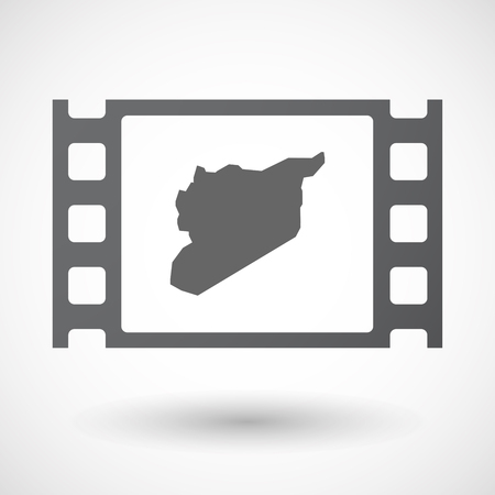 celluloid: Illustration of an isolated celluloid film frame icon with  the map of Syria