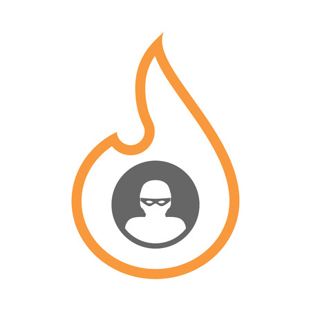 Illustration of an isolated line art flame icon with a thief