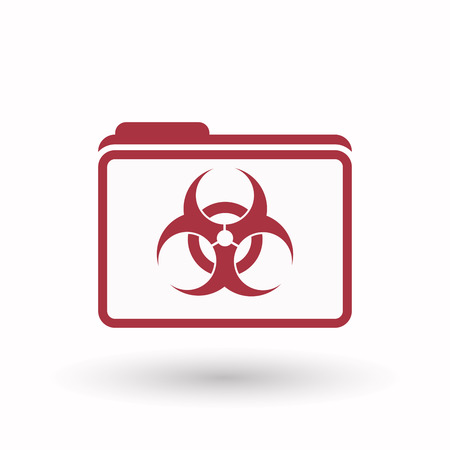 biological hazards: Illustration of an isolated line art  folder icon with a biohazard sign