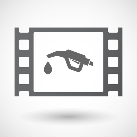 celluloid: Illustration of an isolated celluloid film frame icon with  a gas hose icon