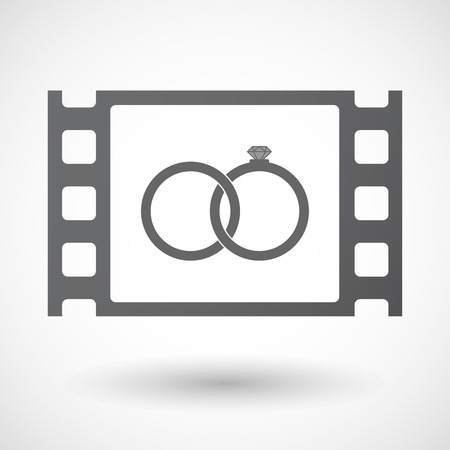 documentary: Illustration of an isolated celluloid film frame icon with  two bonded wedding rings