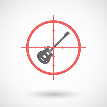 Illustration of an isolated  line art crosshair icon with  an electric guitar