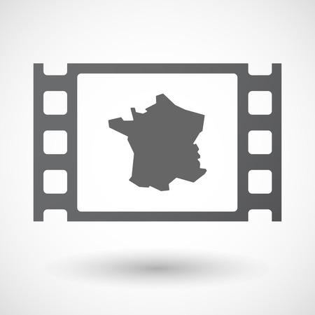 celluloid: Illustration of an isolated celluloid film frame icon with  the map of France
