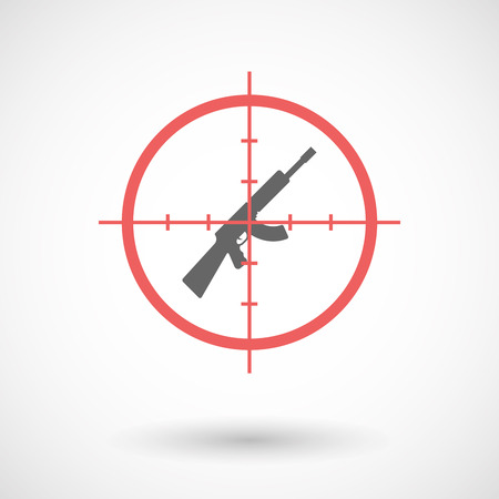 Illustration of an isolated  line art crosshair icon with  a machine gun sign