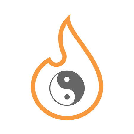 yinyang: Illustration of an isolated line art flame icon with a ying yang