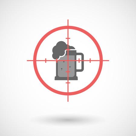tarro cerveza: Ilustración de un icono de la línea de arte en forma de cruz aislado con un icono de jarra de cerveza