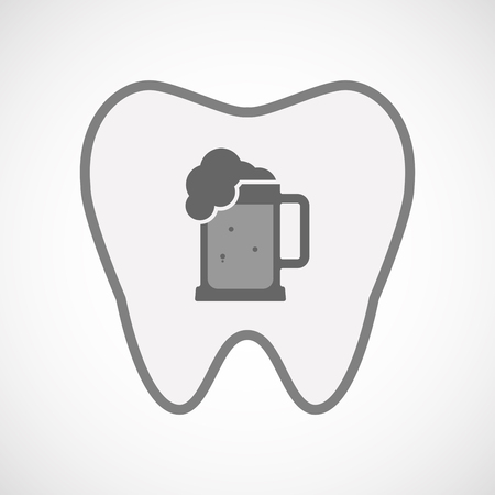 tarro cerveza: Ilustración de un icono de diente aislado arte de línea con un icono de jarra de cerveza