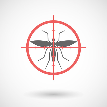 sniper crosshair: Illustration of an isolated  line art crosshair icon with  a mosquito