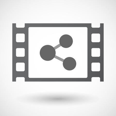 celluloid: Illustration of an isolated celluloid film frame icon with  a network sign
