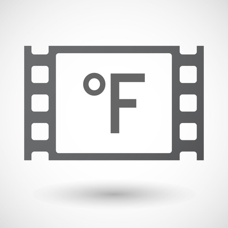 celluloid: Illustration of an isolated celluloid film frame icon with  a farenheith degrees sign Illustration