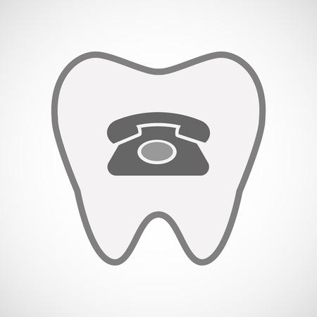 comunicacion oral: Ilustración de un icono de diente aislado arte de línea con un signo de teléfono retro Vectores