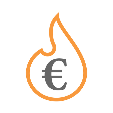 Illustration of an isolated line art flame icon with an euro sign