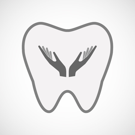 ease: Illustration of an isolated line art tooth icon with hands Illustration