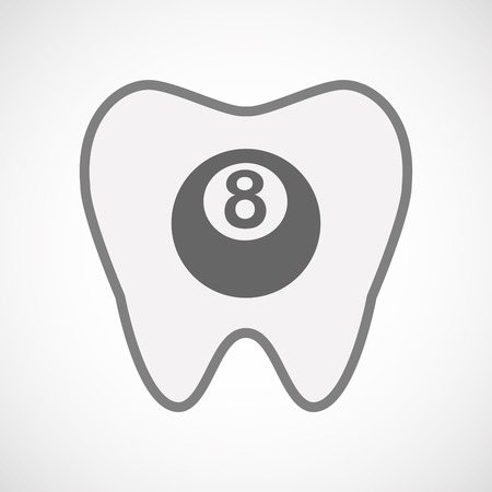 bola de billar: Illustration of an isolated line art tooth icon with  a pool ball