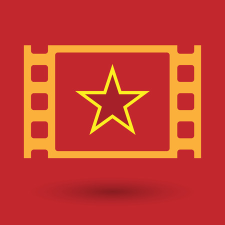 celluloid: Illustration of an isolated celluloid film frame icon with  the red star of communism