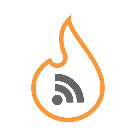 really simple syndication: Illustration of an isolated line art flame icon with an RSS sign