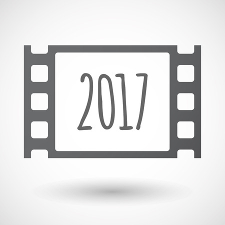 celluloid: Illustration of an isolated celluloid film frame icon with  a 2017 year  number icon